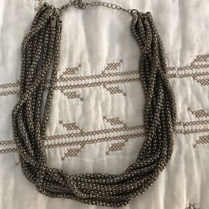 4/$15 Chunky silver twisted rope necklace